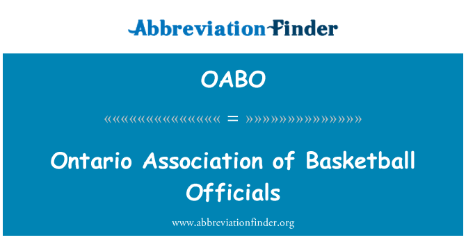 OABO: Ontario Association of Basketball Officials