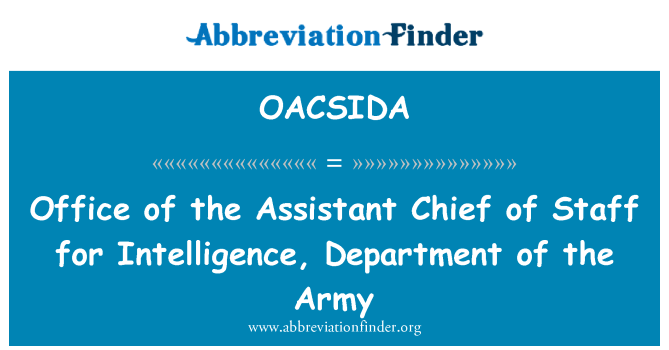 OACSIDA: Office of the Assistant Chief of Staff for Intelligence, Department of the Army