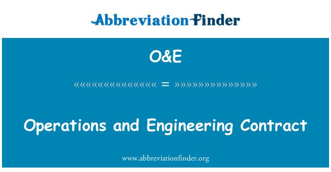 O&E: Opérations et contrat d'ingénierie