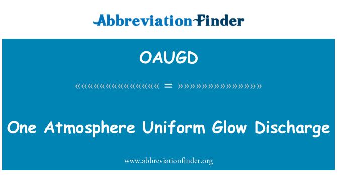 OAUGD: One Atmosphere Uniform Glow Discharge