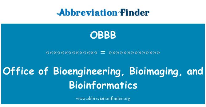 OBBB: Office of Bioengineering, Bioimaging, and Bioinformatics