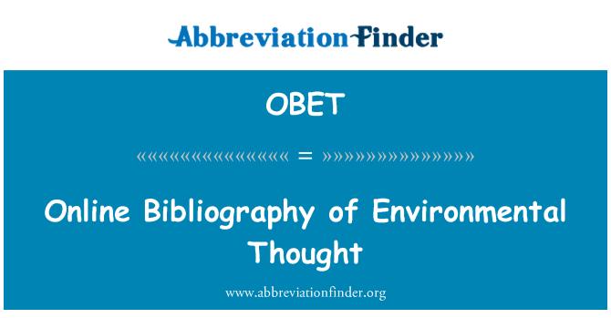 OBET: Bibliografía en línea de pensamiento ambiental