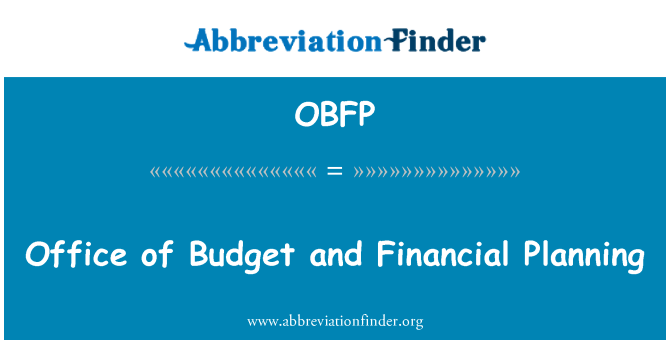 OBFP: Office of Budget and Financial Planning
