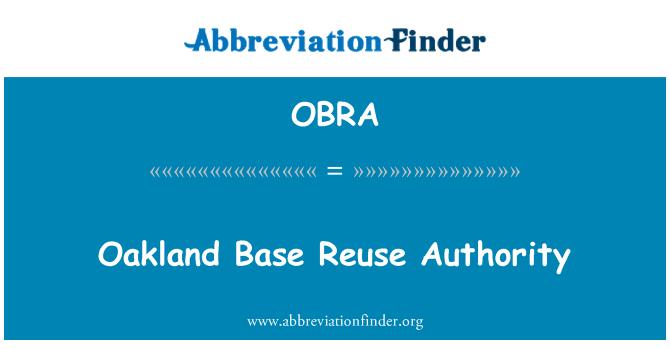OBRA: Oakland temel yeniden yetki