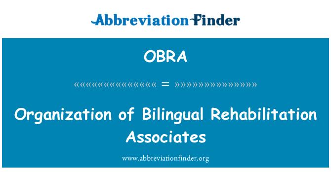 OBRA: İki dilli rehabilitasyon Örgütü ilişkilendirir