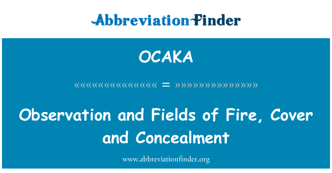 OCAKA: Observation and Fields of Fire, Cover and Concealment