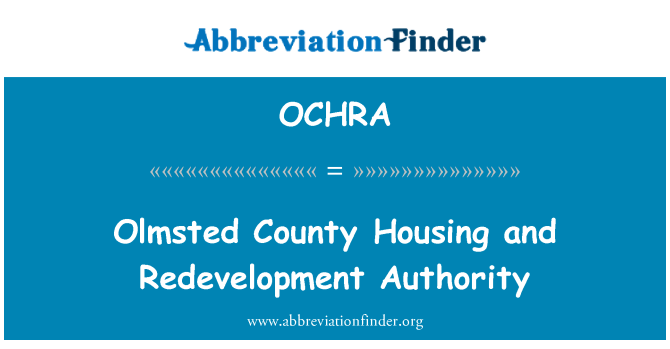 OCHRA: Olmsted County Housing and Redevelopment Authority