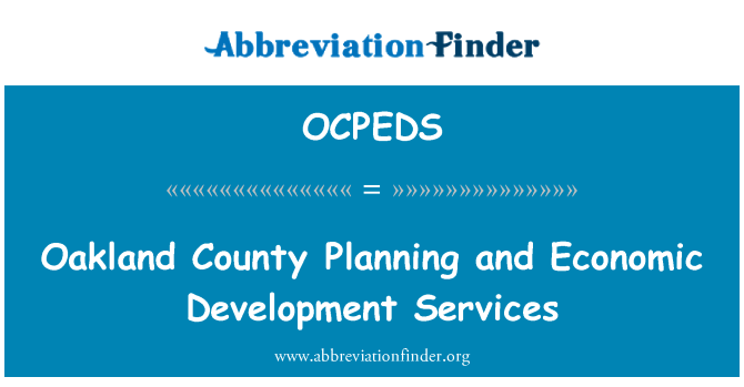 OCPEDS: Oakland County Planning and Economic Development Services