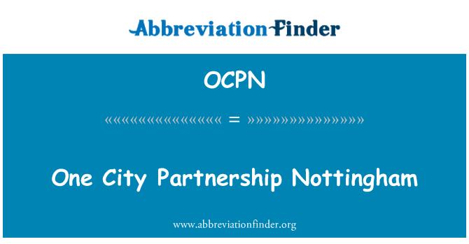 OCPN: One City Partnership Nottingham
