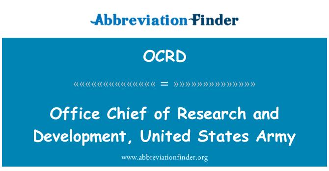 OCRD: Ketua Pejabat Penyelidikan dan pembangunan, Amerika Syarikat