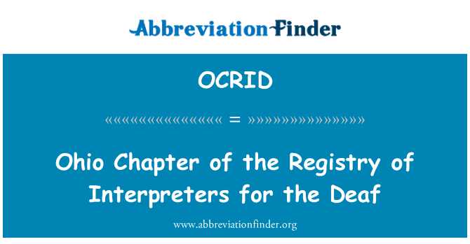OCRID: Ohio Chapter of the Registry of Interpreters for the Deaf