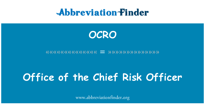 OCRO: Office of the Chief Risk Officer