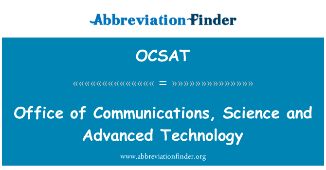 OCSAT: مواصلات، سائنس اور جدید ٹیکنالوجی کا دفتر