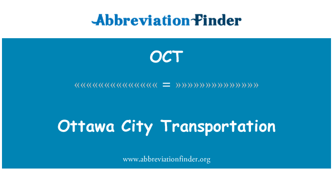 OCT: Ottawa City Transportation