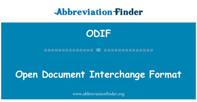 ODIF: 打开的文档交换格式