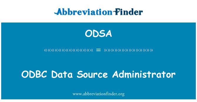 ODSA: ODBC veri kaynağı Yöneticisi