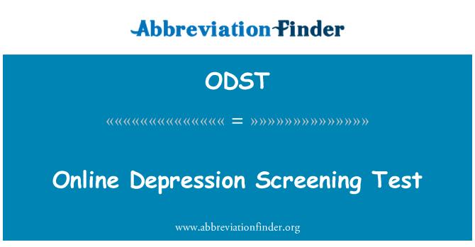 ODST: Скрининг-тест онлайн депрессии