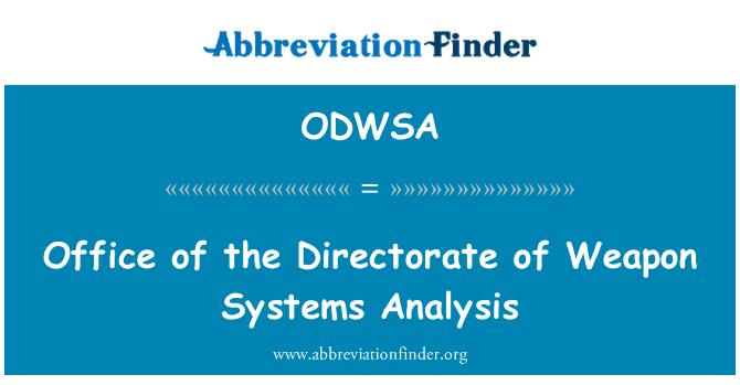 ODWSA: 武器系统分析首长办公室