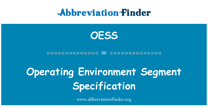 OESS: Operating Environment Segment Specification