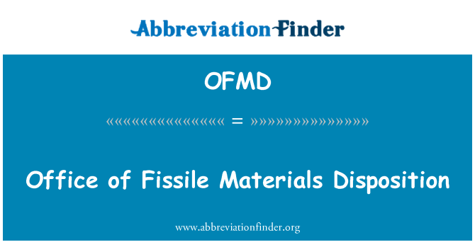OFMD: Office of Fissile Materials Disposition
