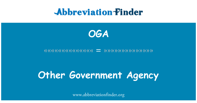 OGA: Other Government Agency