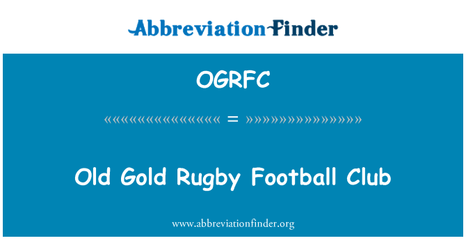 OGRFC: Old Gold Rugby Football Club