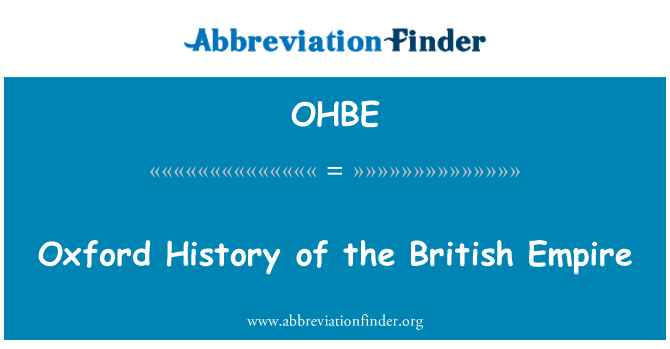 OHBE: Oxford History of the British Empire