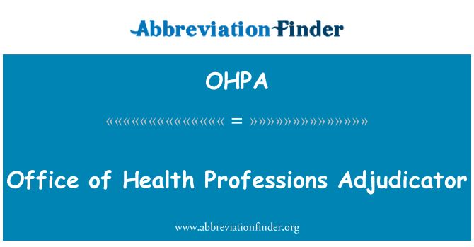OHPA: Sağlık Meslekleri hakem ofisi
