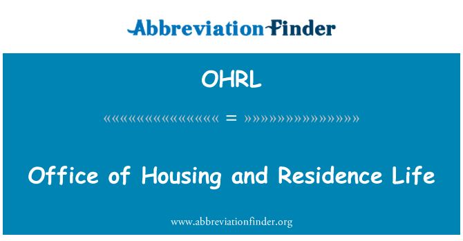 OHRL: Office of Housing and Residence Life
