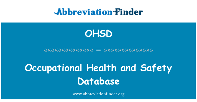 OHSD: Occupational Health and Safety Database