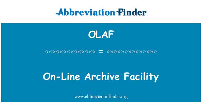 OLAF: On-Line Arşiv tesisi