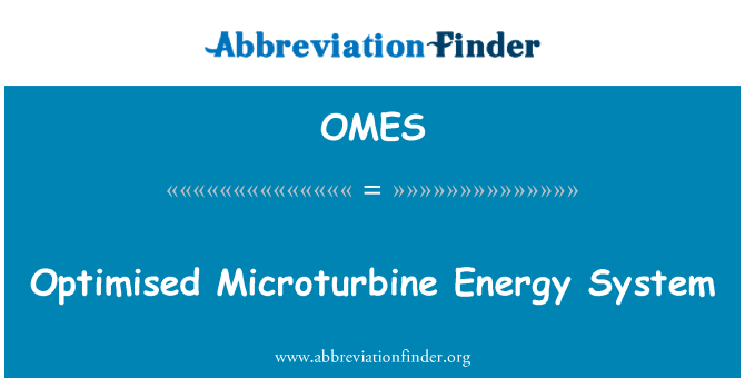 OMES: Optimised Microturbine Energy System