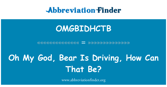 OMGBIDHCTB: Oh My God, Bear Is Driving, How Can That Be?