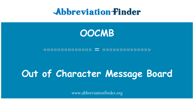 OOCMB: Out of Character Message Board
