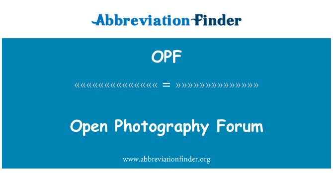OPF: Open Photography Forum