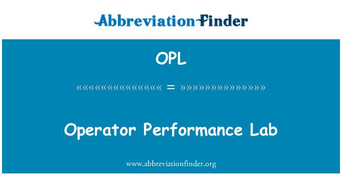 OPL: Operator Performance Lab