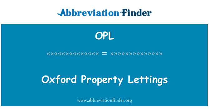 OPL: Oxford Property Lettings