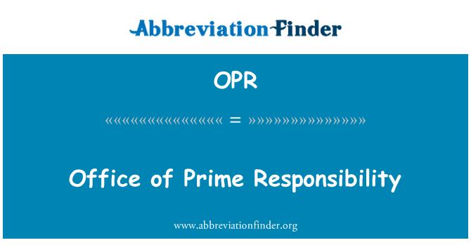 OPR: Baş Sorumluluk Ofisi