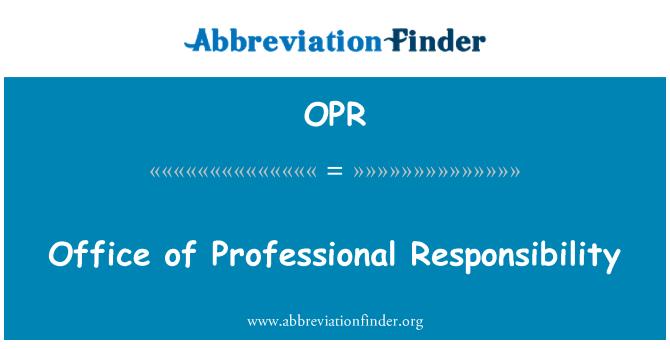 OPR: Profesyonel Sorumluluk Ofisi