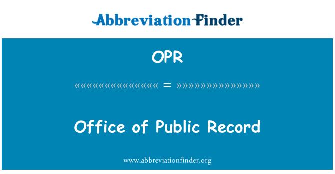 OPR: Genel kayıt ofisi