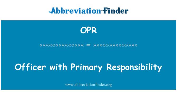 OPR: Birincil sorumluluğu ile memur