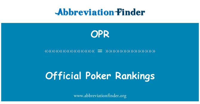 OPR: Ametlik Poker Edetabelid