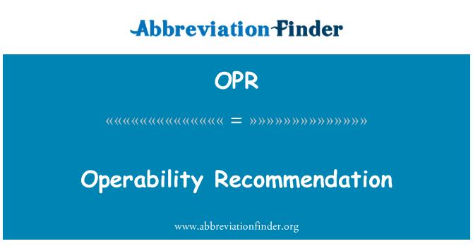 OPR: Kullanım önerisi