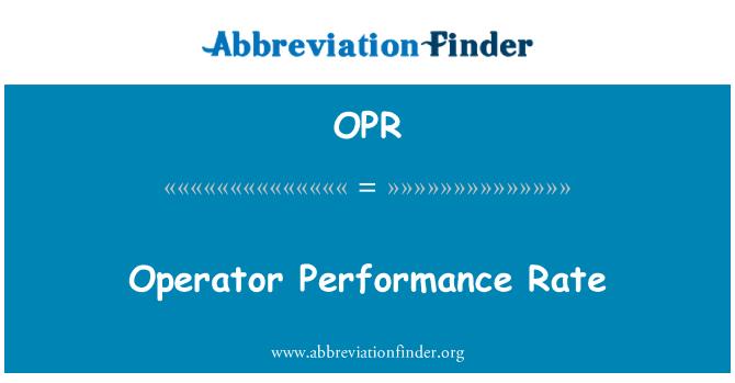 OPR: Käitaja täitmise määr