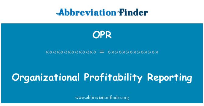 OPR: Kuruluş karlılığını raporlama