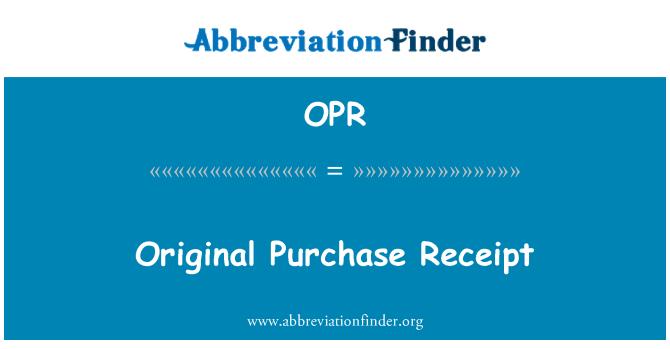 OPR: Orijinal satınalma alış irsaliyesi