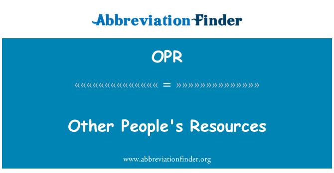OPR: Teiste inimeste ressursid