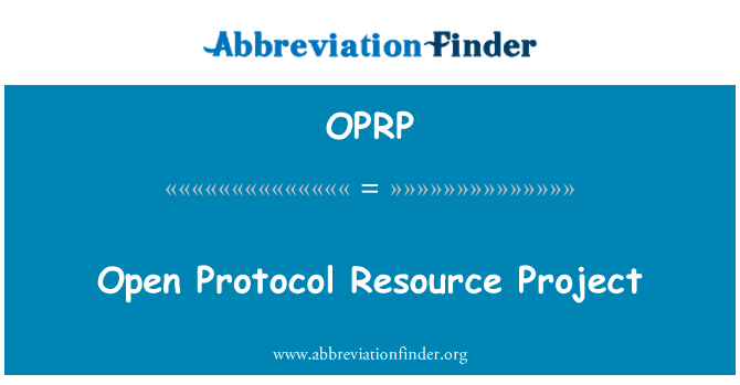 OPRP: Open Protocol Resource Project
