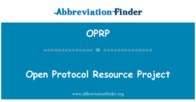 OPRP: Proyecto de protocolo abierto los recursos