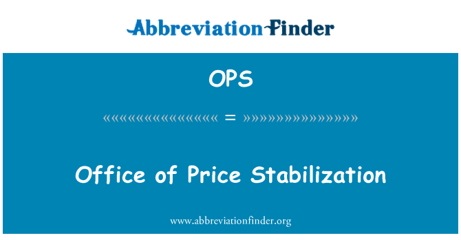 OPS: Office of Price Stabilization